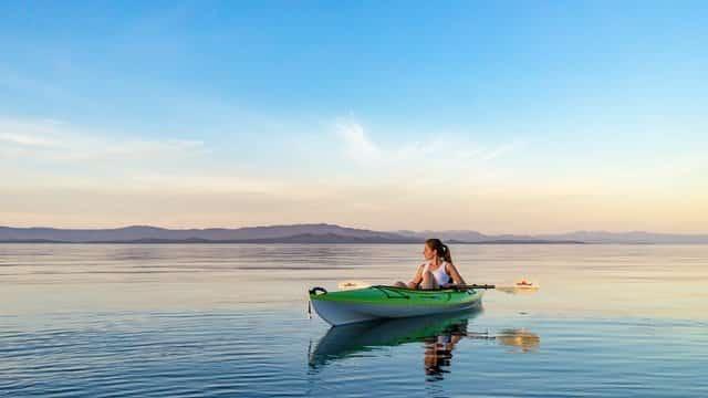 kayaking on open water